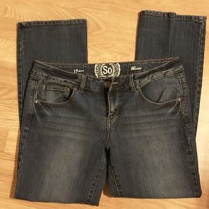 SO bootcut jeans, juniors size 17 short, like new